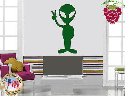 Vinyl Sticker Wall Art Decor Litttle Green Friend Alien Piece Space Hippy Unique Gift EM043