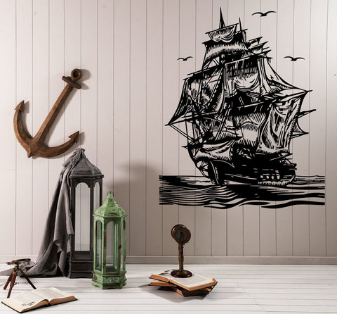 Large Vinyl Decal Wall Sticker Seagoing Ship Sail Sea Waves Nautical Decor (M600)