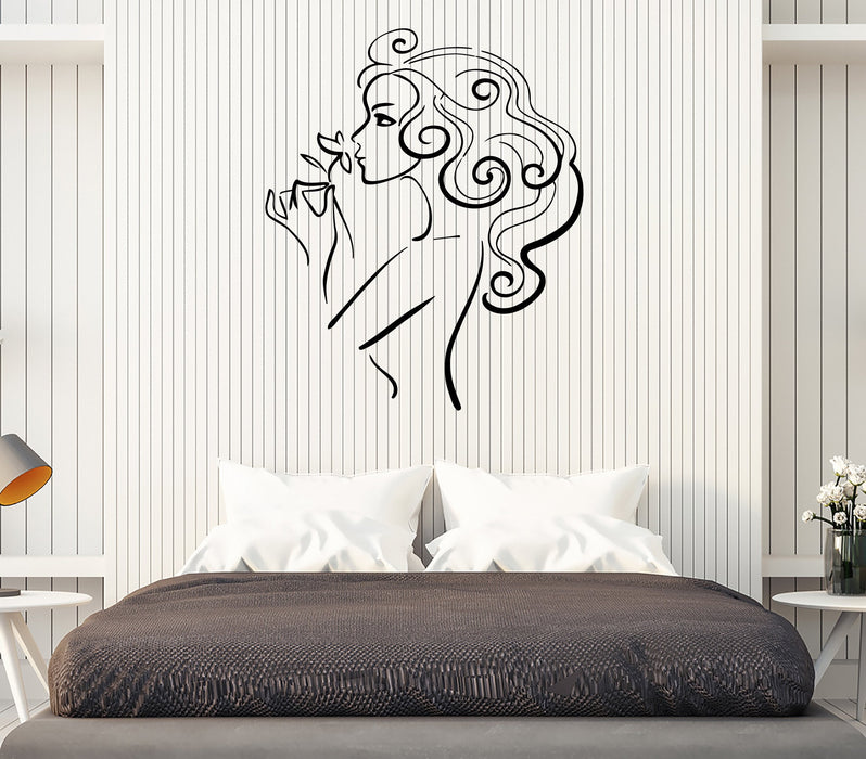 Vinyl Decal Wall Sticker Beauty Sexy Girl with Flower Modern Decor Unique Gift (m635)