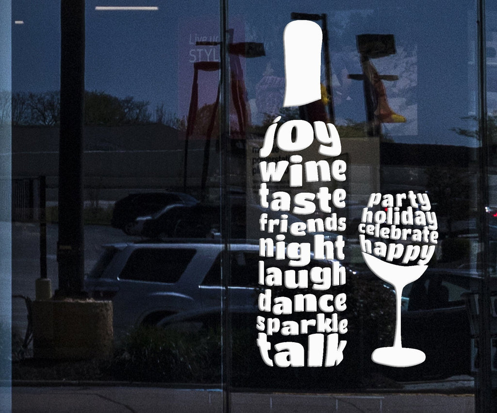 Shopstore Window and  Wall Decal Wine Glass Bottle Alcohol Word Bar Stickers Unique Gift (287igw)