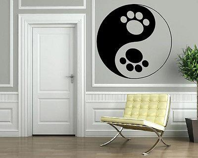 Funny Cool Yin & Yang Dog Paws Animal Decor Wall Mural Vinyl Art Sticker Unique Gift M397