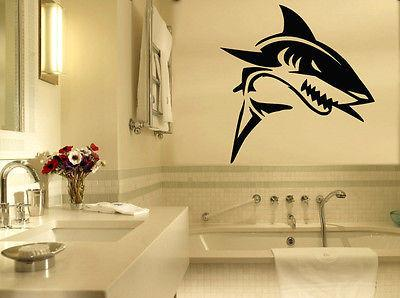 Vinyl Decal Wall Sticker Shark Nautical Marine Beach House Modern Home Decor Mural Art Unique Gift (z783)