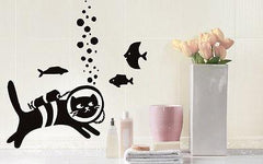 Cat And Fish Pet  Animal Funny Children Mural  Wall Art Decor Vinyl Sticker z715