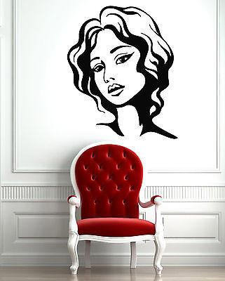Female Face Hot Sexy Hair Beauty Salon  Mural  Wall Art Decor Vinyl Sticker Unique Gift z591
