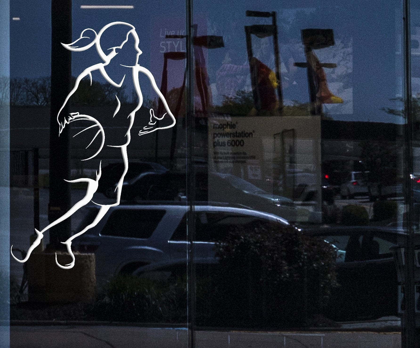Window Sign and Wall Sticker Sport Basketball Girl Female Woman Vinyl Decal Unique Gift (z3042w)