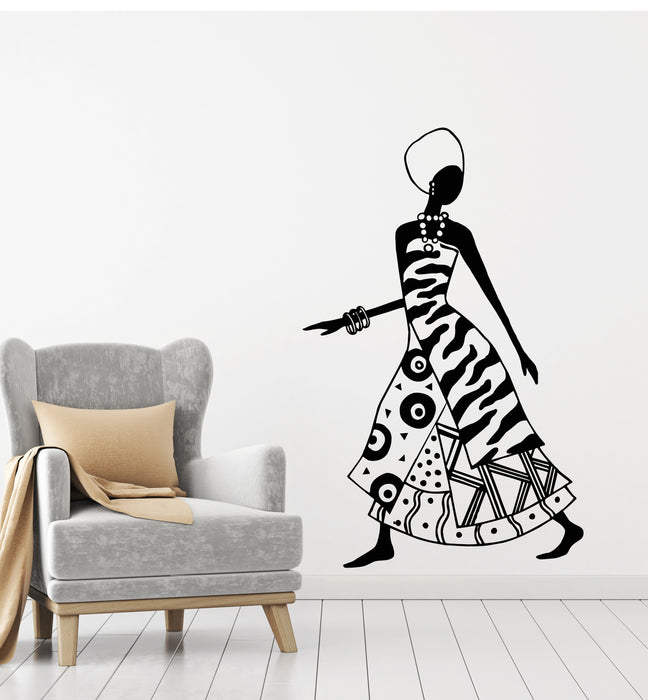 Vinyl Wall Decal African Beauty Woman Ethnic Style Black Lady Stickers Mural (g1293)