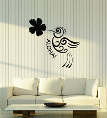 Vinyl Wall Decal Aloha Bird Flower Hawaii Hawaiian Room Art Stickers Mural (ig5422)