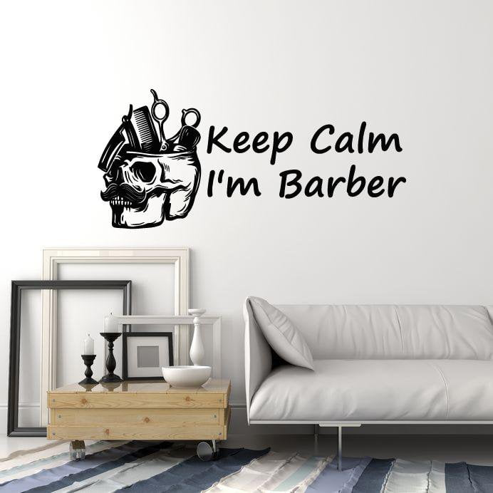Vinyl Wall Decal Barber Tools Skull Barbershop Quote Hair Salon