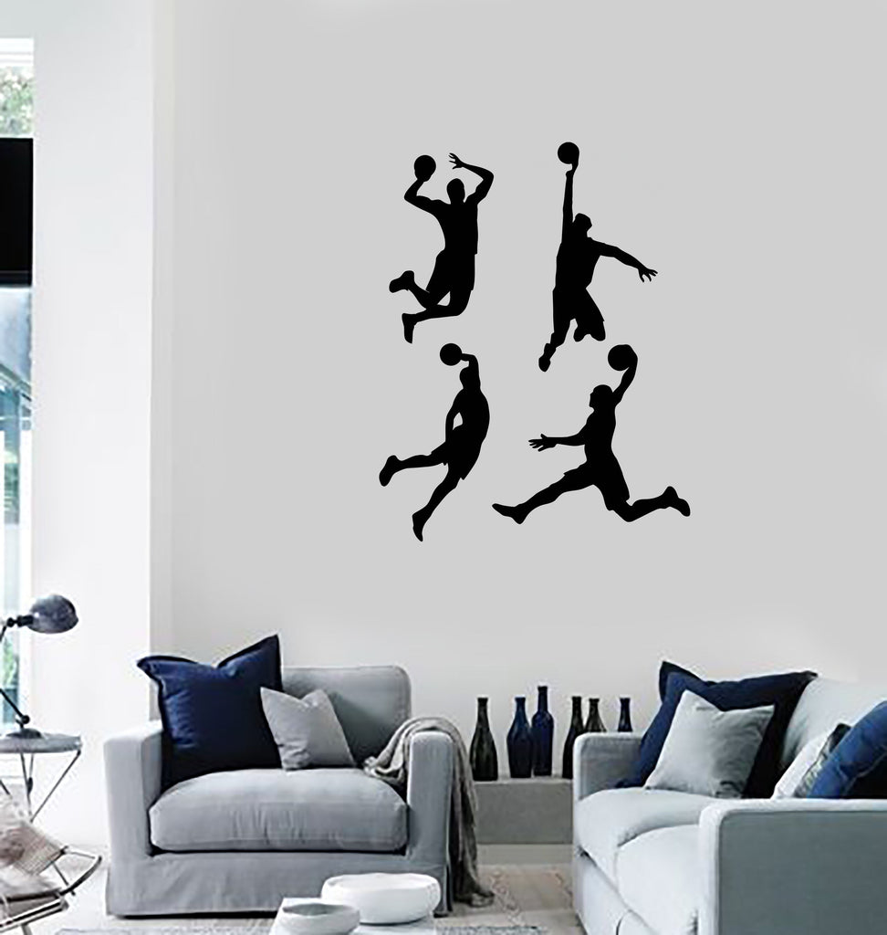 Vinyl Wall Decal Basketball Players Silhouette Sports Fan Boys Room Stickers Mural Ig5472