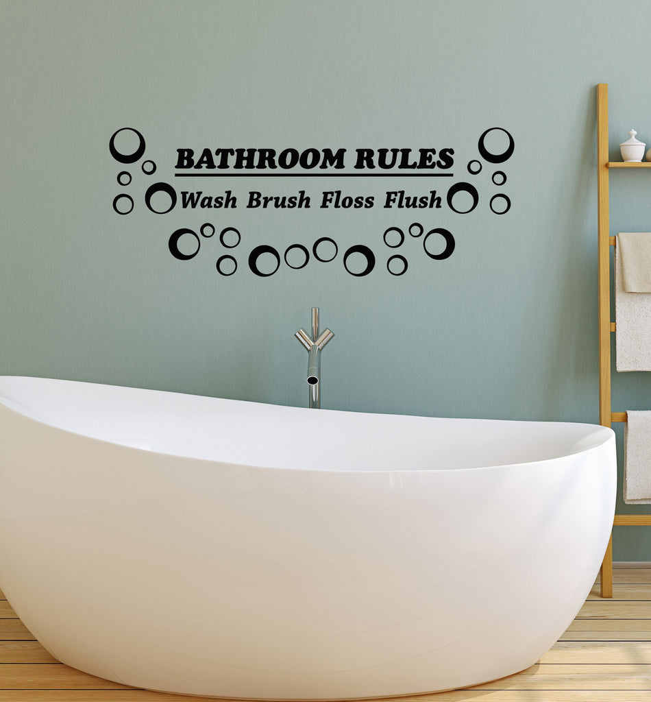Vinyl Wall Decal Bathroom Rules Quote Shower Room Art ...
