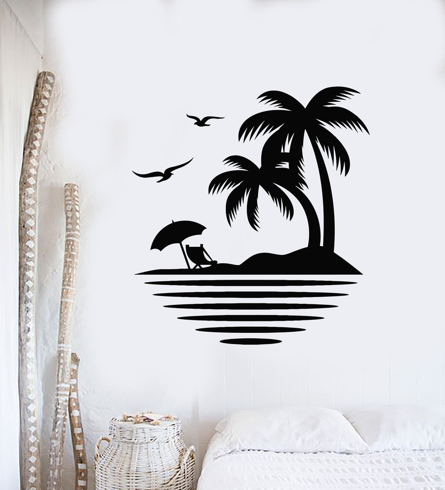 Vinyl Wall Decal Palm Tree Seagulls Beach Relax Travel Sea Ocean Stickers Mural (g1235)