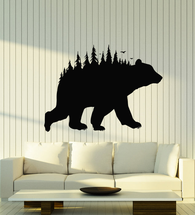 Vinyl Wall Decal Bear Forest Taiga Nature Predator Animal Fir Tree Stickers Mural (g2636)