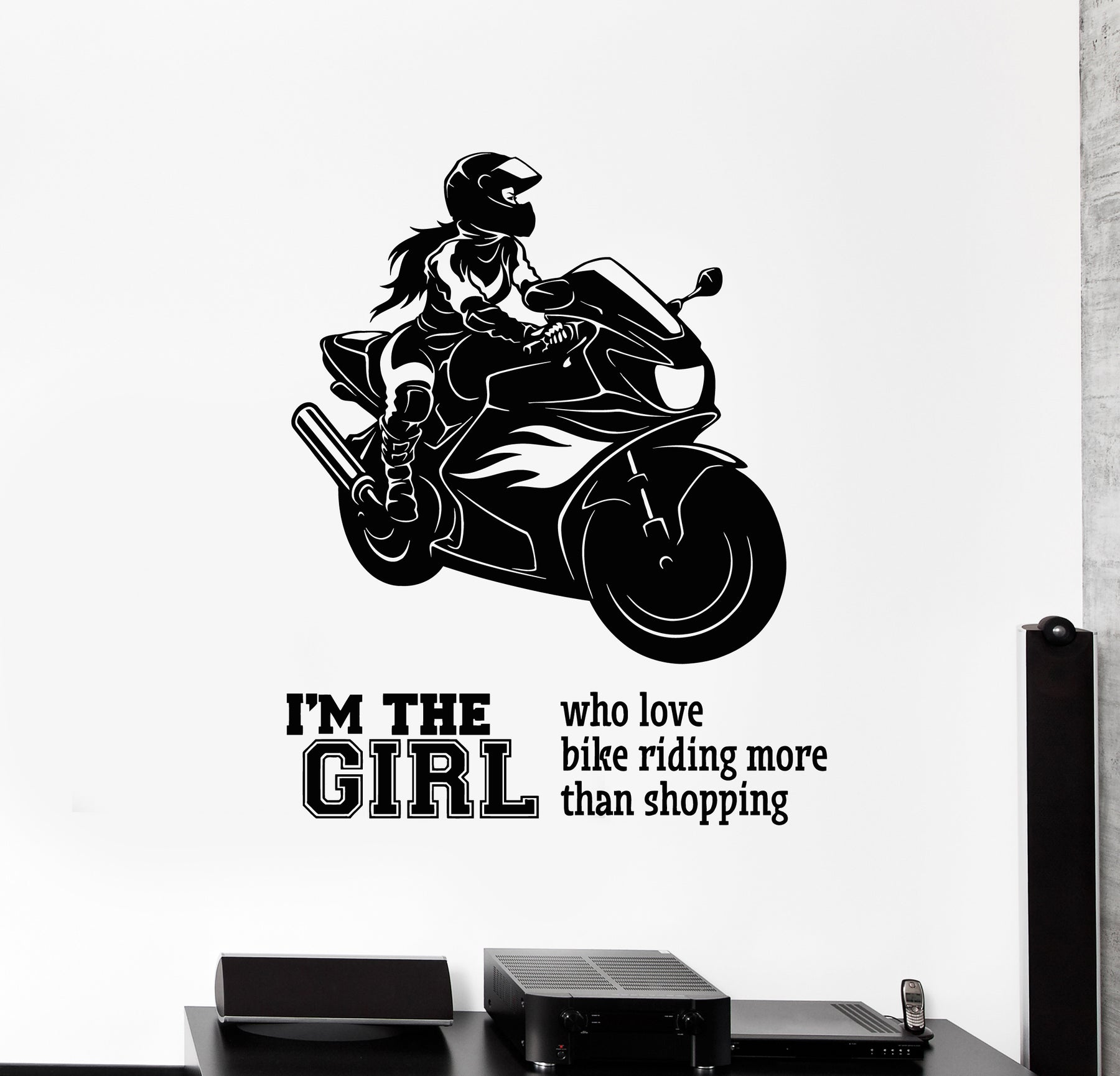 Vinyl Wall Decal Bike Speed Biker Woman Motorcycle Racing Sports Quote Stickers Mural (g860)