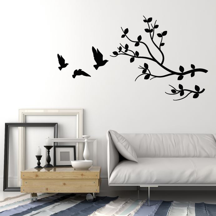 Vinyl Wall Decal Birds Tree Branch Nature Kids Room Art Stickers Mural (g758)
