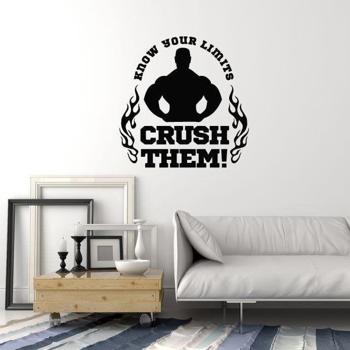Vinyl Wall Decal Bodybuilding Motivating Quote Phrase Gym Fitness ...