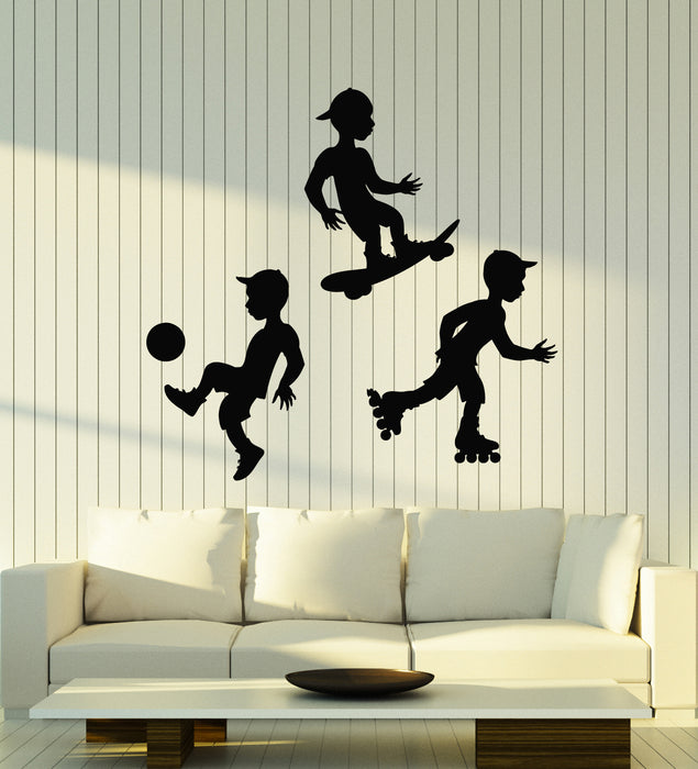 Vinyl Wall Decal Soccer Skateboard Rollers Sport Boys Kids Room Stickers Mural (g1411)