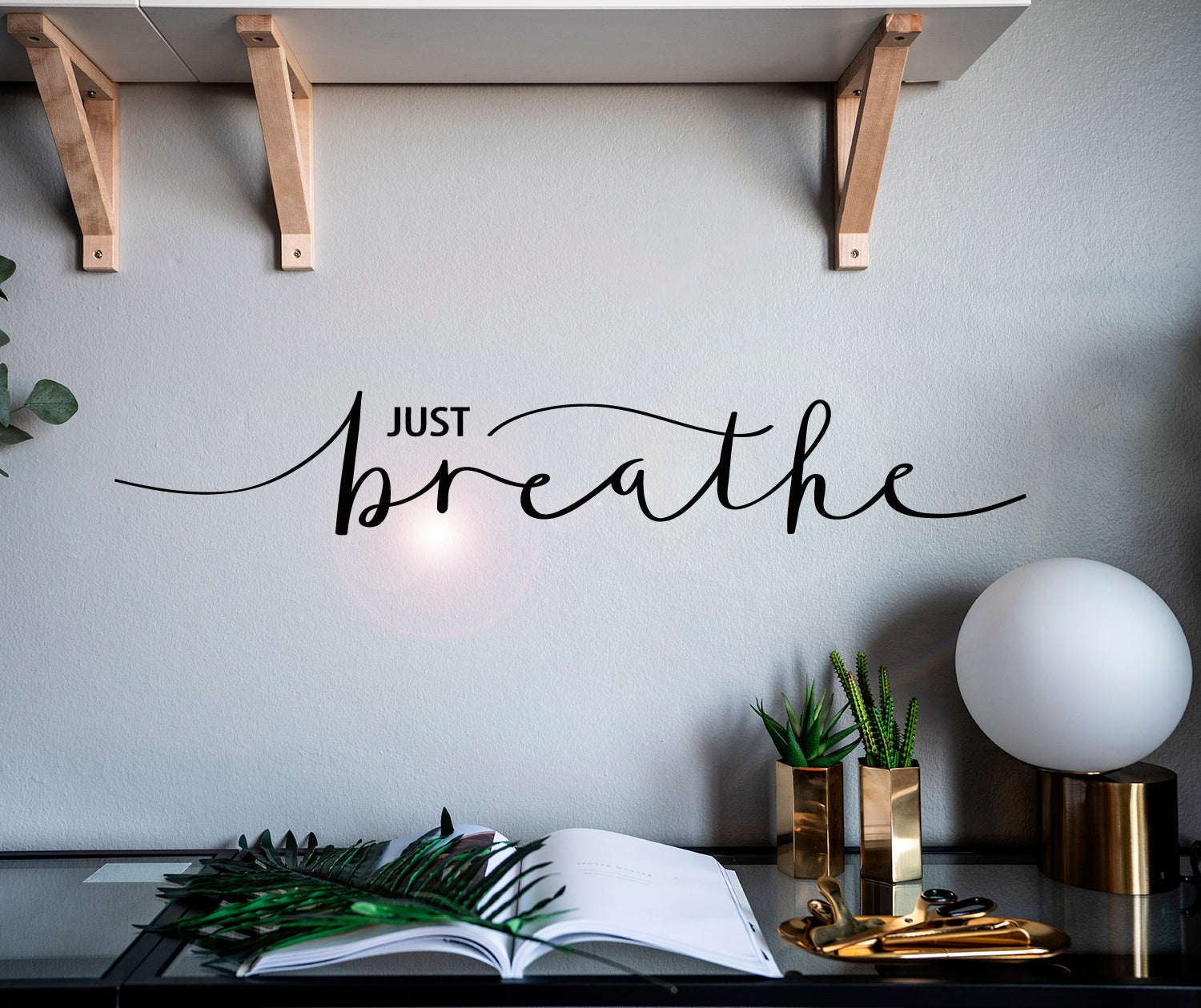 Vinyl Wall Decal Inspiring Quote Just Breathe Words Letter Stickers Mural 28.5 in x 5 in gz075