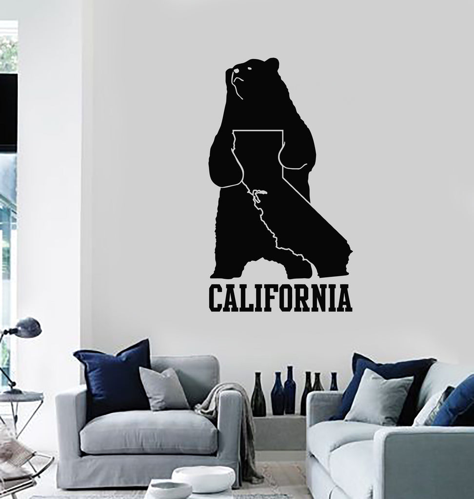 Vinyl Wall Decal California Map State Grizzly Bear Symbol Art Decor