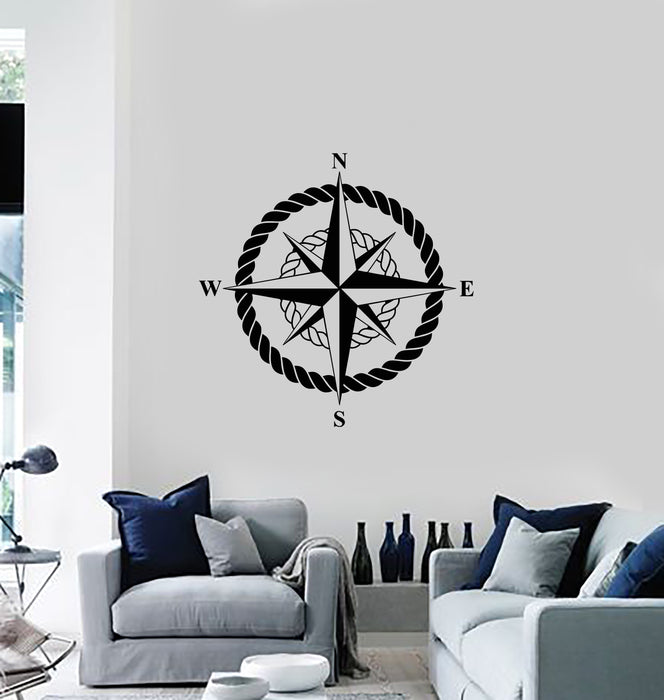 Vinyl Wall Decal Nautical Compass Sea Anchor Marine Wind Rose Stickers Mural (g926)