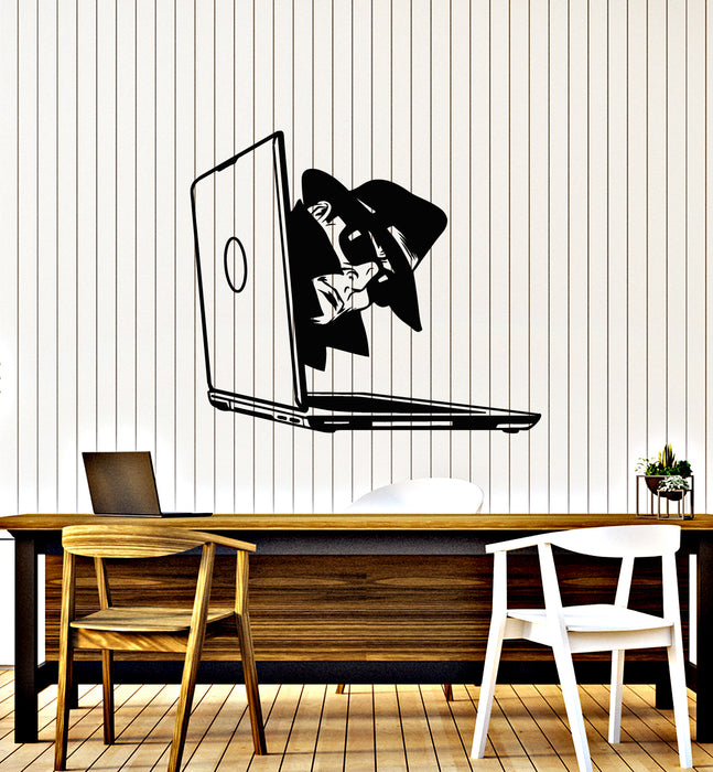 Vinyl Wall Decal Computer Hacker Spy Man With Glasses Laptop Stickers Mural (g1403)