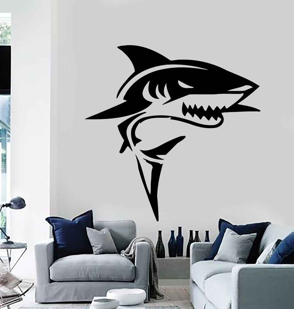 Shark Wall Stickers Bathroom Marine Decor Predator Ocean Vinyl Decal Unique  Gift (ig576)