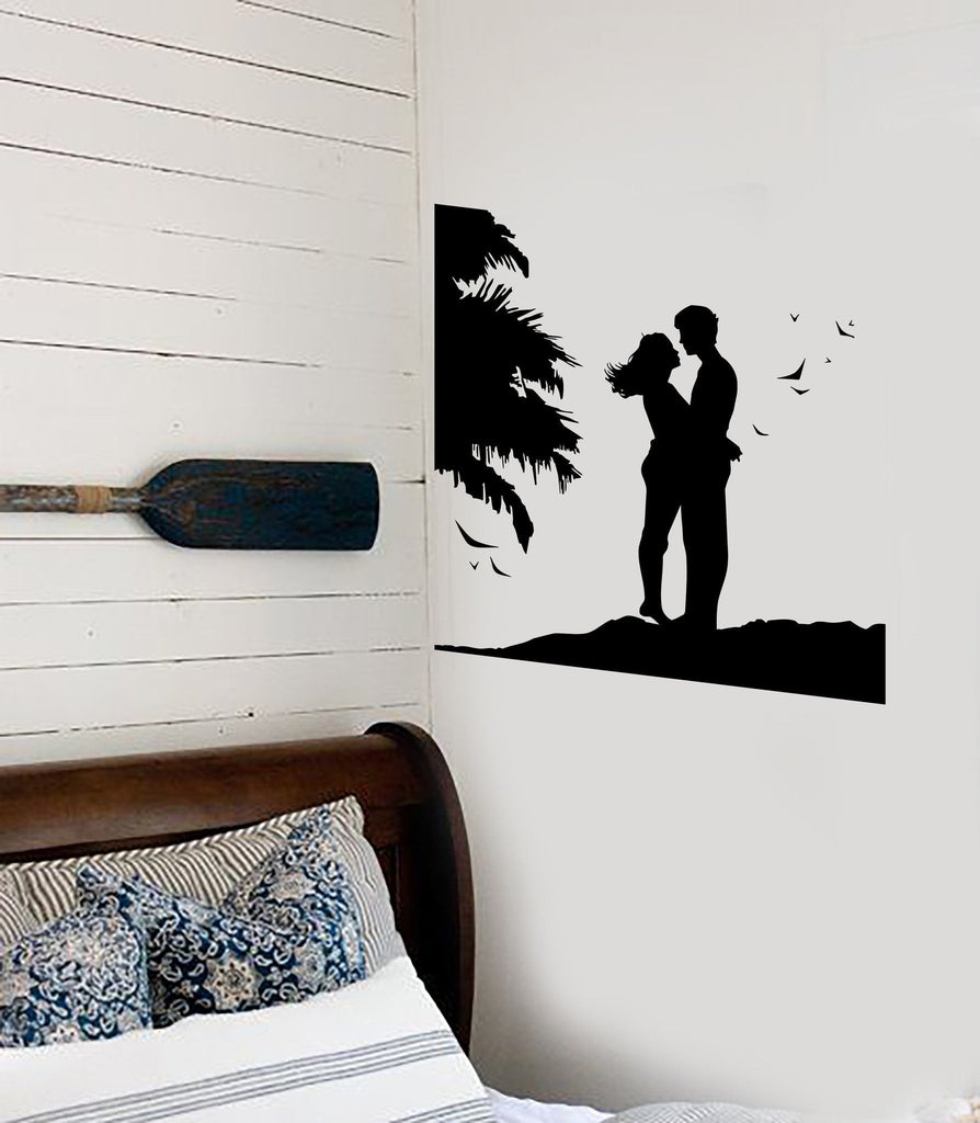 Wall stickers vinyl decal couple in love romantic sunset beach wall stickers vinyl decal couple in love romantic sunset beach bedroom unique gift ig1887 amipublicfo Gallery