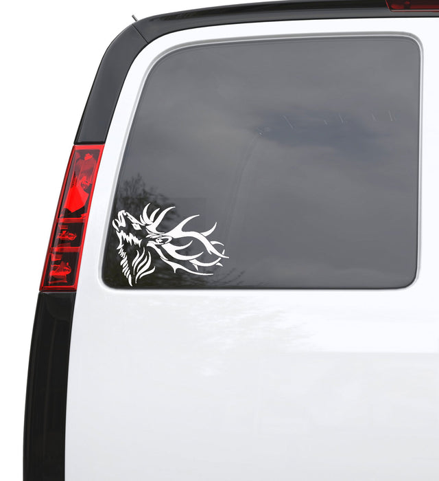 "Auto Car Sticker Decal Deer Horn Head Hunter Animal Truck Laptop Window 7.1"" by 5"" Unique Gift ig251c"