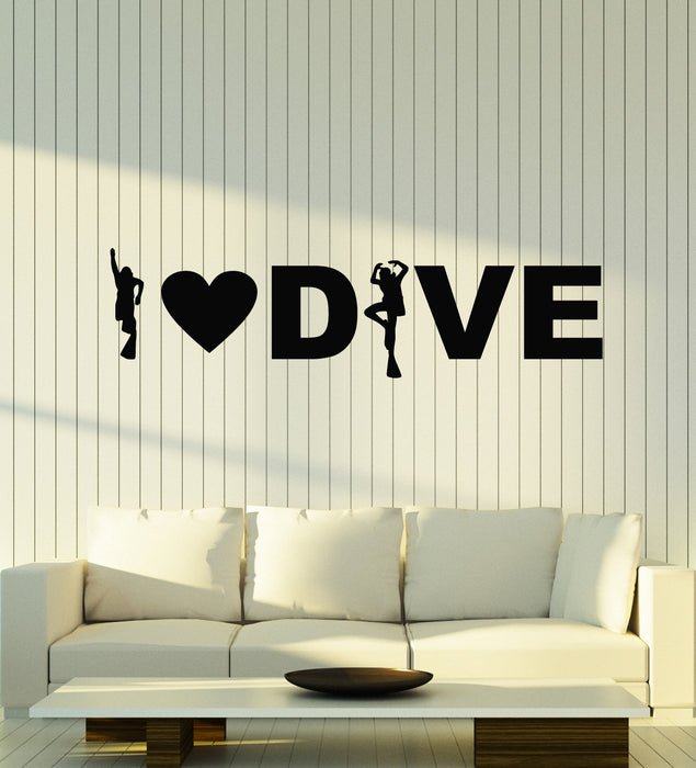 Vinyl Wall Decal I Love Dive Phrase Water Diving Club Extreme Sports Stickers Mural (g1159)