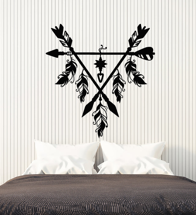 Vinyl Wall Decal Dream Catcher Feather Arrow Ethnic Style Bedroom Decor Stickers Mural (g1134)