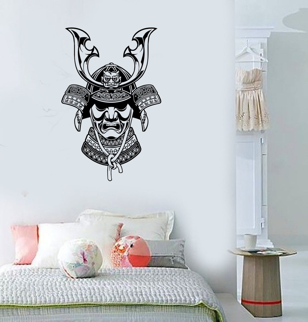 Wall Decal Japan Mask Horns Warrior Samurai East Mural Vinyl Stickers Unique Gift (ed017)