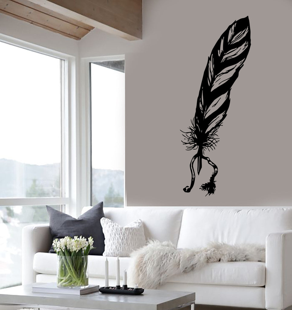 Wall Decal Feather Ink Bird Pen Writer Poetry Graphics Vinyl Stickers Unique Gift (ed103)