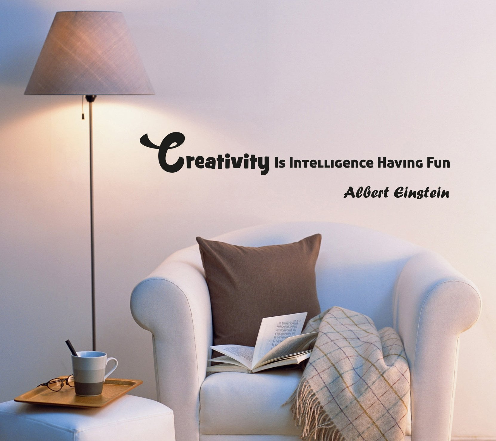 Wall Decal Famous Quote Einstein Science Office Lettering Vinyl Sticker (ed1085) (22.5 in X 5 in)