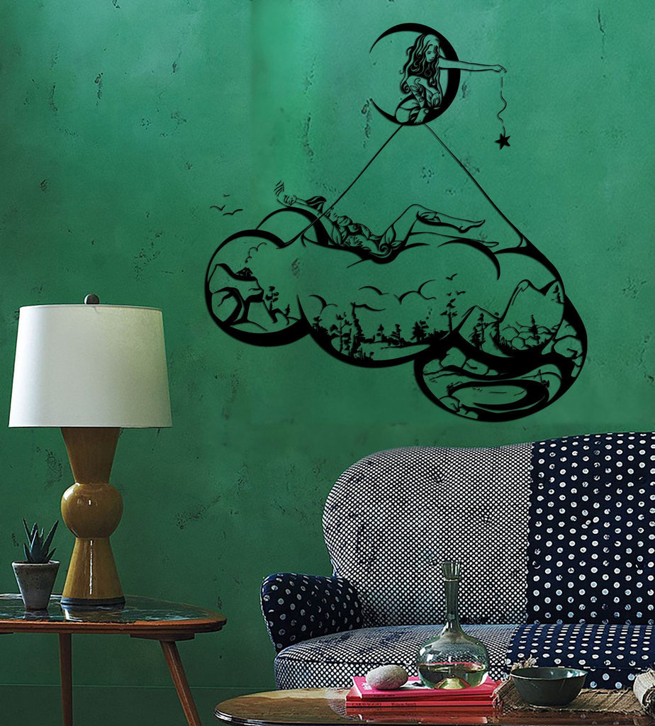 Wall Decal Girls Dream Moon Star Night Landscape Nature Vinyl Stickers Unique Gift (ed116)