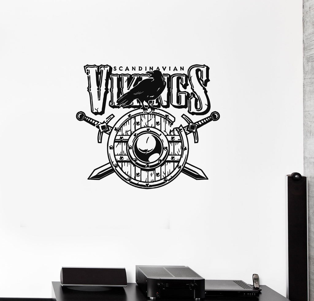 Wall decal vikings warriors shield sword raven scythian vinyl sticker wallstickers4you