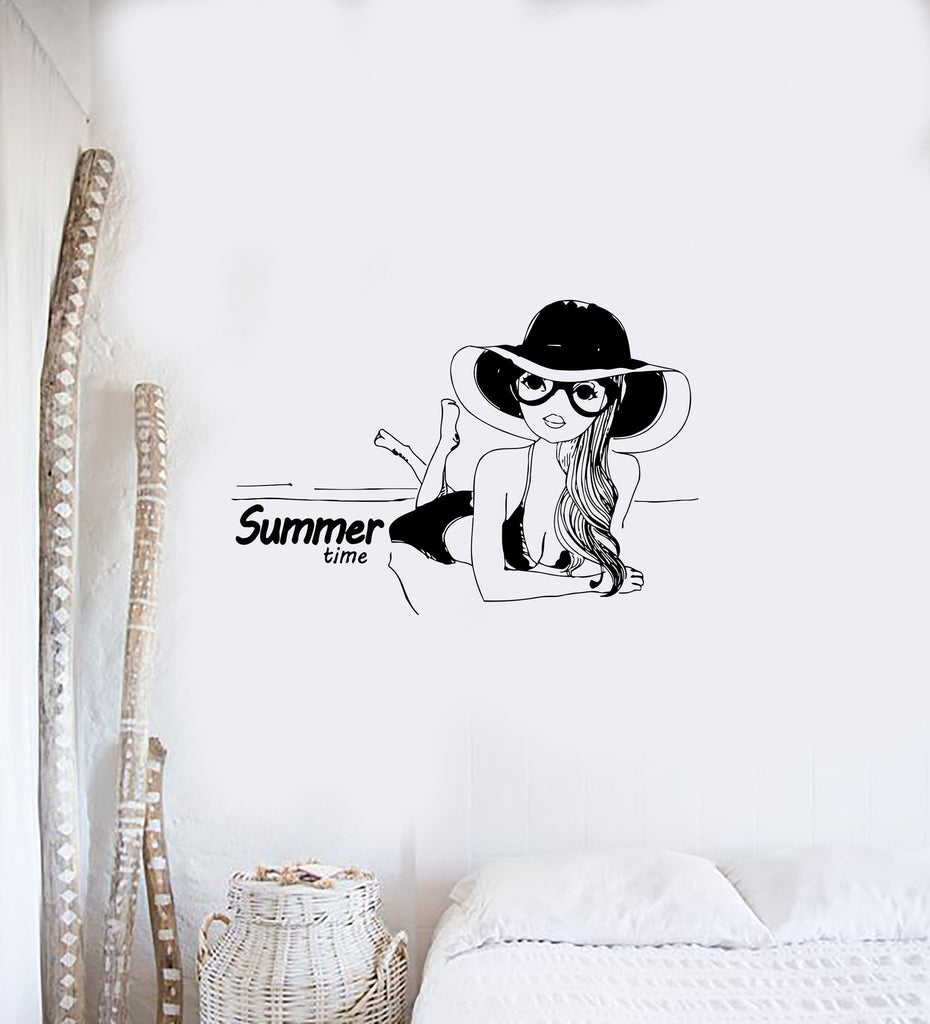 Wall Decal Sexy Girl Summer Time Beach Tan Swimsuit Babe Vinyl Stickers Unique Gift (ed127)