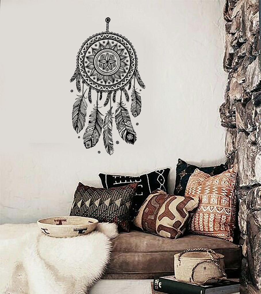 Vinyl Decal Wall Dreamcatcher Web Plumage Charm Bedroom Art Sticker (ed130)