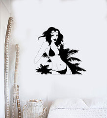 Wall Decal Sexy Girl Swimsuit Beach Palm Trees Sun Summer Vinyl Stickers (ed147)