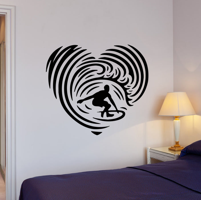 Wall Decal Surfing Ocean Sport Heart Extreme Beach Sea Vinyl Sticker (ed1677)
