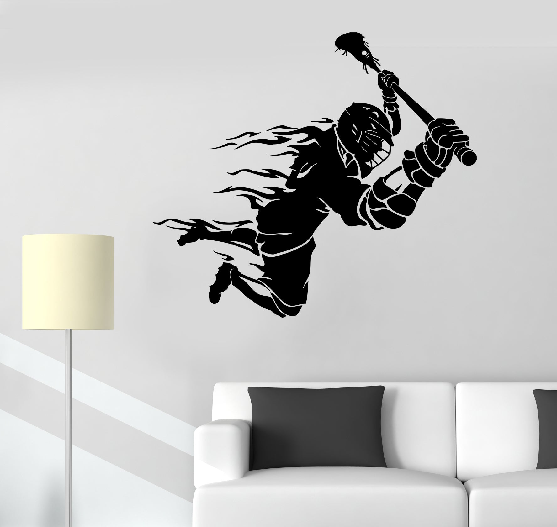 Wall Decal Lacrosse Player Ball Team Game Sport Vinyl Sticker (ed1705)