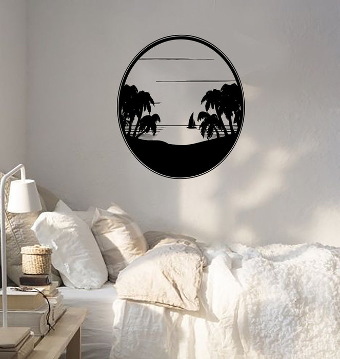 Wall Decal Sea landscape Palm Beach Ocean Sunset Sailboat Vinyl Stickers Unique Gift (ed200)