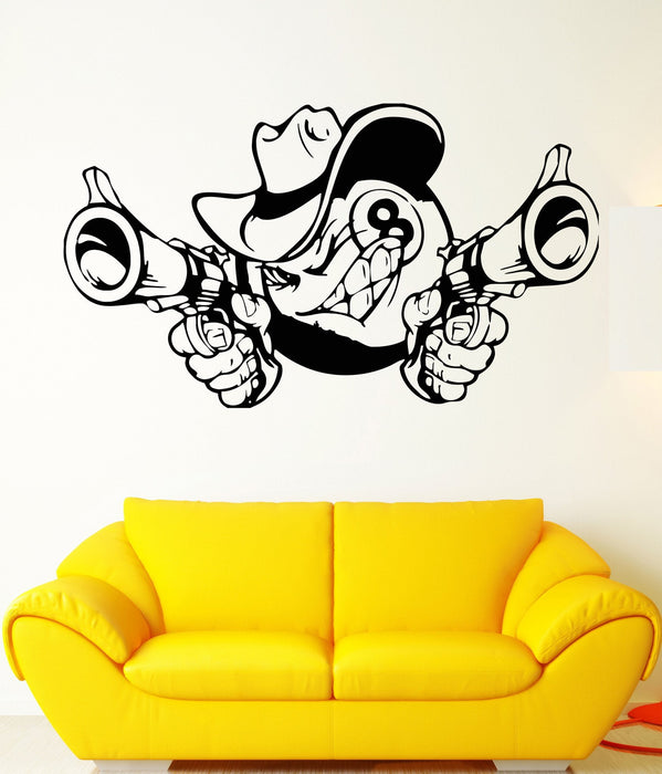Wall Sticker Vinyl Decal Eight Ball Animation Pistols Hat Caricature Unique Gift (ed312)