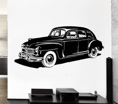 Wall Decal Car Vehicle Wheel Leather Retro Classic Mural Vinyl Decal Unique Gift (ed328)