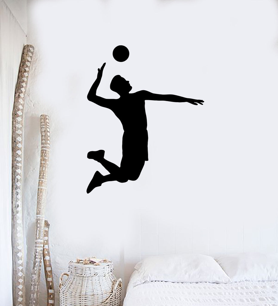 Sport wall vinyl decals wallstickers4you wall decal vinyl sticker volleyball game sport player jump ball hit feed unique gift ed425 amipublicfo Gallery