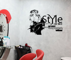 Beautiful Woman Sexy Girl Hair Salon Beauty Style Wall Vinyl Sticker (ed438)