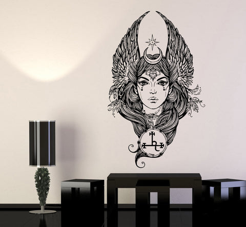 Beautiful Girl Fallen Angel Woman Wings Symbols Wall Decal Vinyl Sticker Unique Gift (ed451)