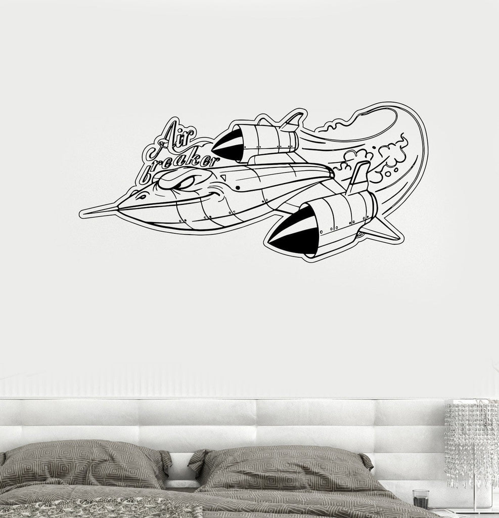Vinyl Decal Airplane Childrens Room Cartoon Military War Wall Stickers Unique Gift (ed478)