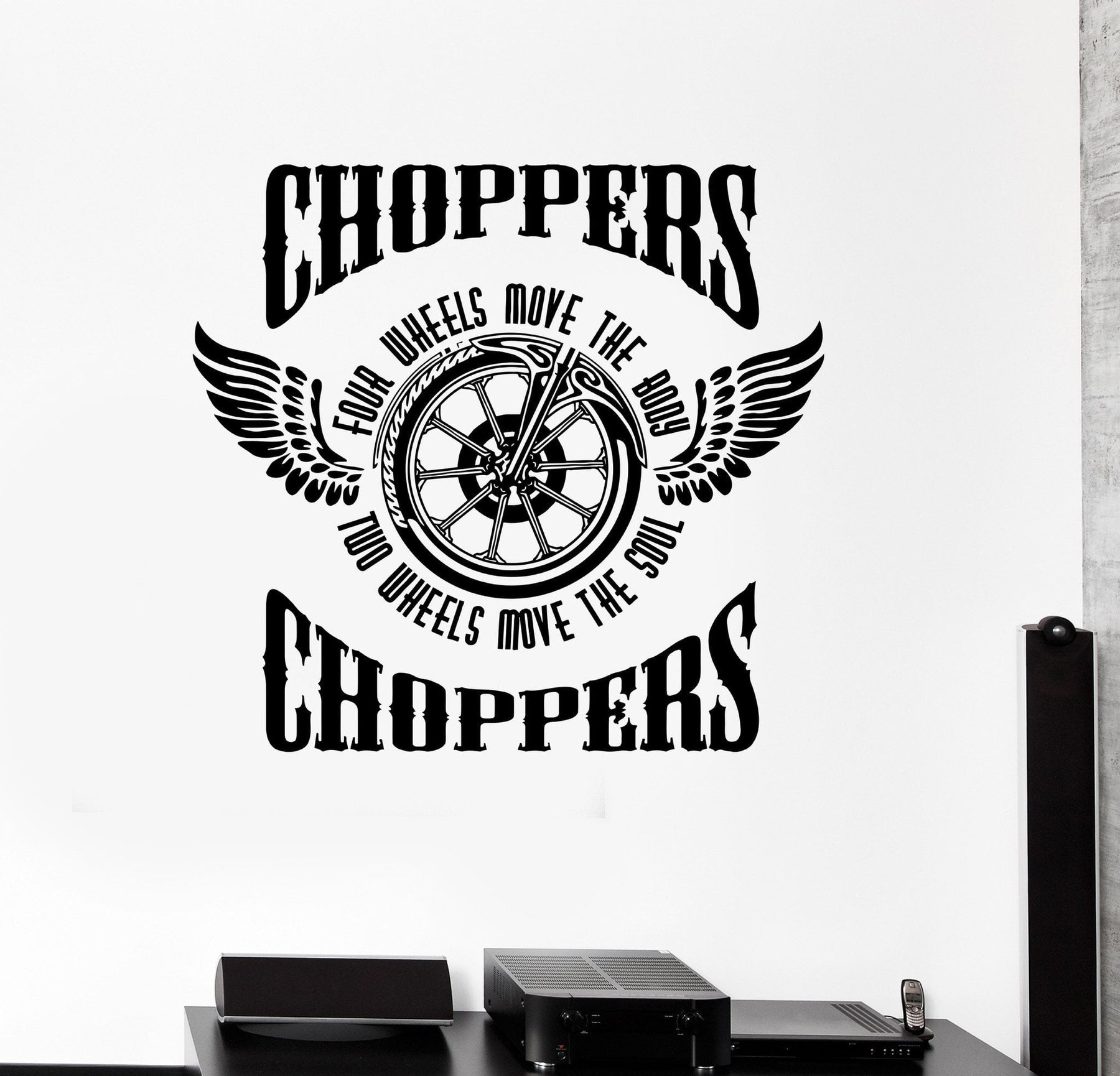 Wall sticker vinyl decal motorcycle fire bike chopper biker wings wheel unique gift ed488