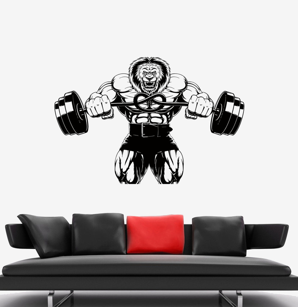 Sticker gym wall - Decal Wall Sports Fitness Strength Animal Lion Gym Angry Vinyl Sticker Ed495