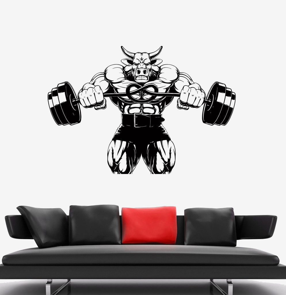 Decal Wall Bull Anger Aggression Strength Sports Muscles Vinyl Sticker Unique Gift (ed497)