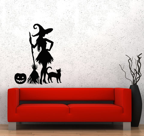 Wall Decal Halloween Pumpkin Witch Broom Black Cat Magic Monster Vinyl Sticker Unique Gift (ed662)